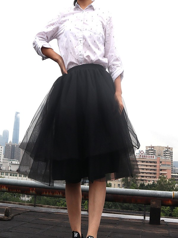 950aa12bdd7 Black Grenadine Pleated Plus Size Fluffy Puffy Tulle High Waisted  Homecoming Party Fashion Tutu Midi Skirt - Skirts - Bottoms