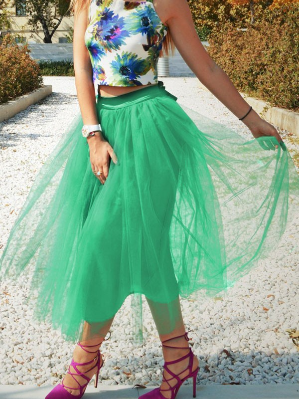 d652b1b3ed63ee Green Patchwork Grenadine Pleated Plus Size High Waisted Tutu Cute  Homecoming Party Skirt - Skirts - Bottoms