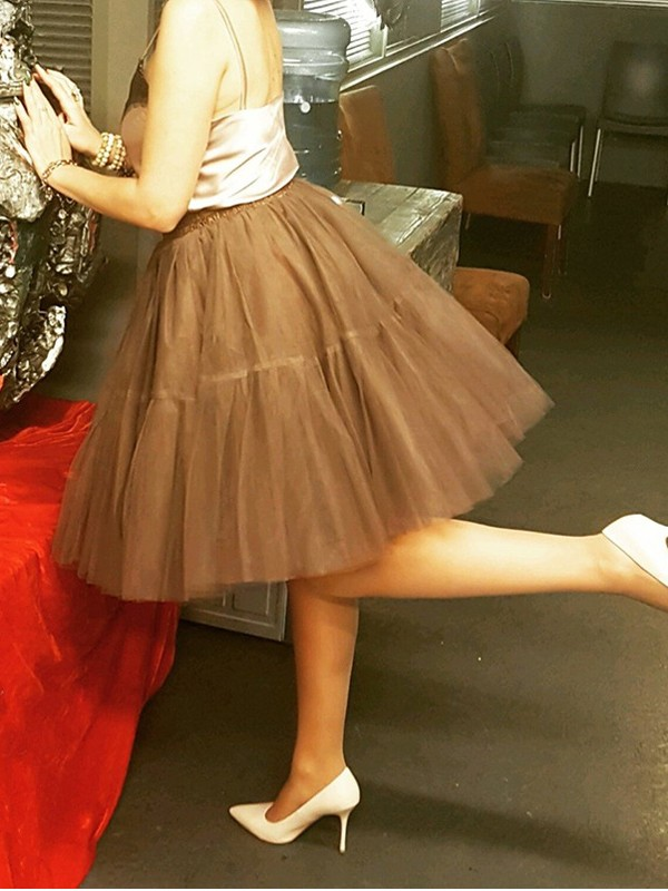 850149dfa Brown Grenadine Pleated Fluffy Puffy Tulle Tutu High Waisted Cute  Homecoming Party Skirt