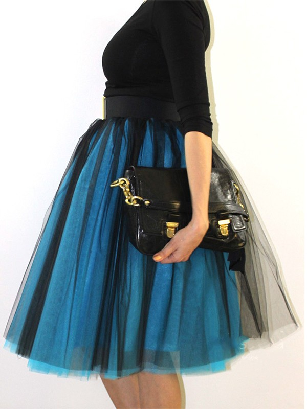 18f00b4e3 Blue Black Patchwork Grenadine Pleated Fluffy Puffy Tulle Homecoming Party  Skirt - Skirts - Bottoms