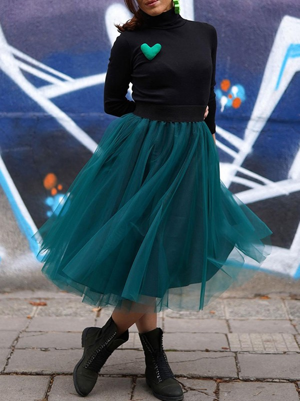 30664f8dea Green Patchwork Grenadine Pleated Tulle Tutu High Waisted Skirt - Skirts -  Bottoms