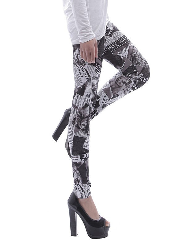 wholesale price offer discounts popular brand White Newspaper Figure Print Bodycon High Waist Tummy Control Workout  Running Stretch Yoga Legging Pants