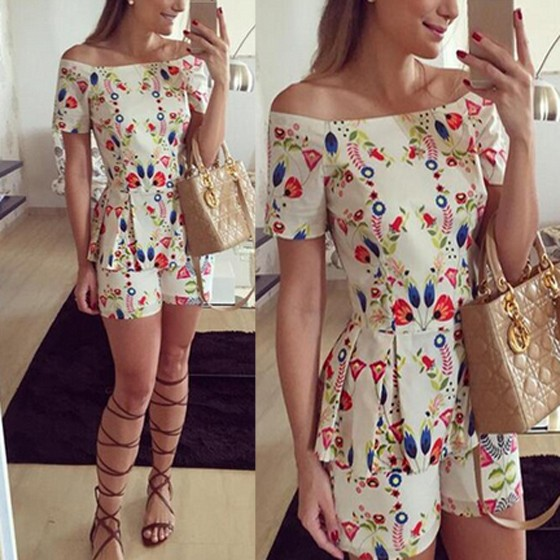 a5d4643bff2 White Floral Ruffle Sweet Slim Mid-rise Short Jumpsuit - Shorts - Bottoms