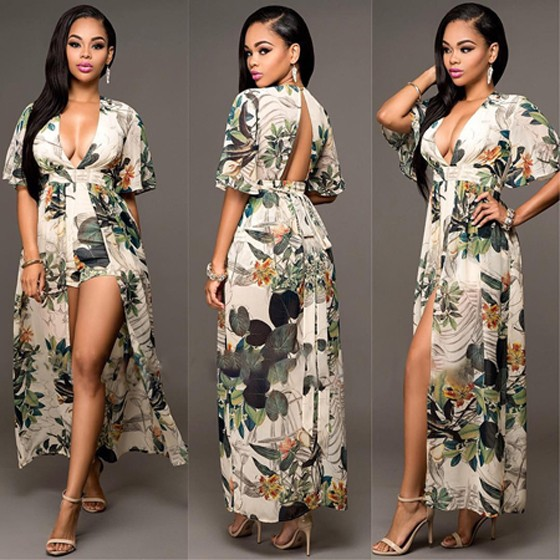 ae5b8c31e44e Multicolor Floral Print V-neck Backless Elbow Sleeve Swallowtail Maxi  Chiffon Romper with Maxi Overlay - Shorts - Bottoms