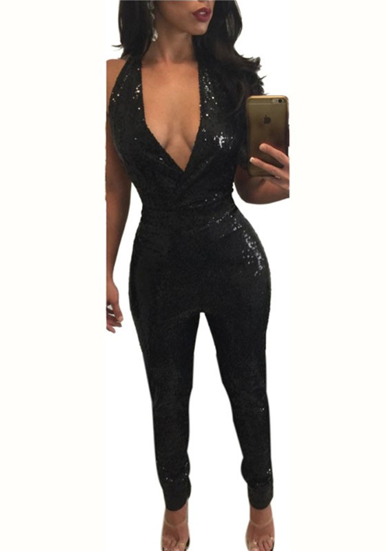 f2e9f6f812 Black Plain Sparkly Sequin Halter Neck Backless Sexy Club Long Jumpsuit