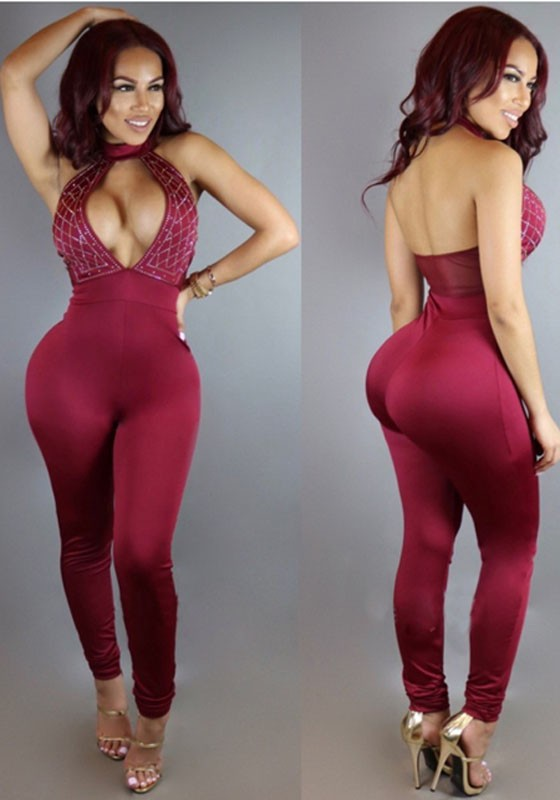 f12bd8c5703 Burgundy Patchwork Cut Out Halter Neck Backless Sexy Long Jumpsuit With  Rhinestones