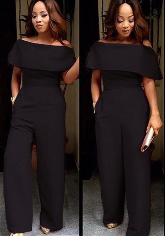 30905375fa Black Plain Ruffle Boat Neck Off-shoulder High Waisted Wide Leg Long  Jumpsuit