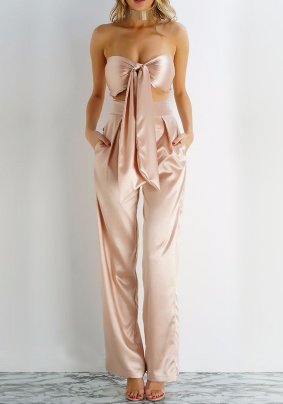fc0ecf1d5d8 Champagne Bandeau 2-in-1 Zipper Bow Sewing Mid-rise Fashion Wide Leg Long  Jumpsuit - Jumpsuits - Bottoms