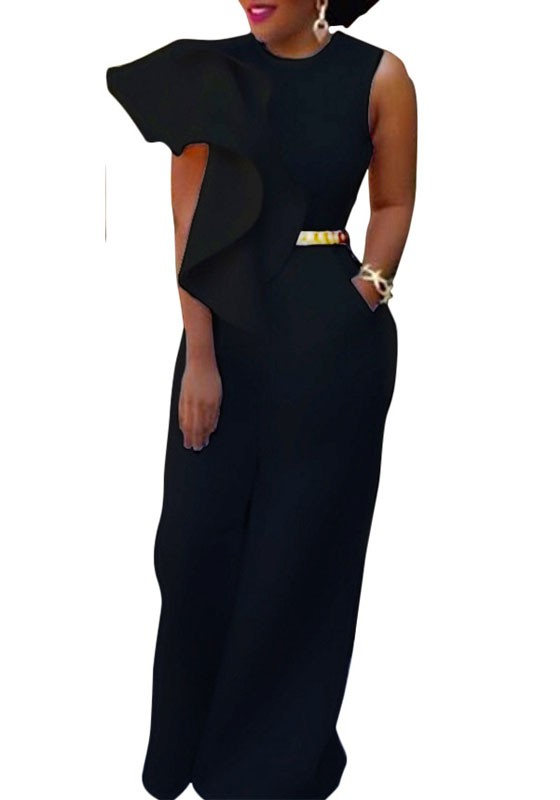 46f441e1527 Black Irregular Ruffle Zipper Pockets High Waisted Wide Leg Long Jumpsuit -  Jumpsuits - Bottoms