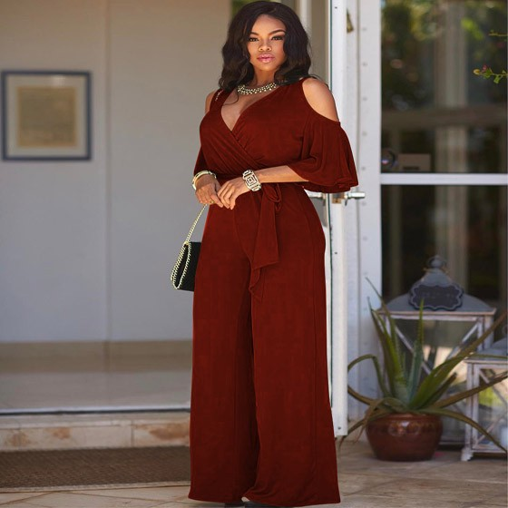 7462b0c47980 Burgundy Cut Out Sashes Deep V-neck Half Sleeve Wide Leg Long Jumpsuit -  Jumpsuits - Bottoms