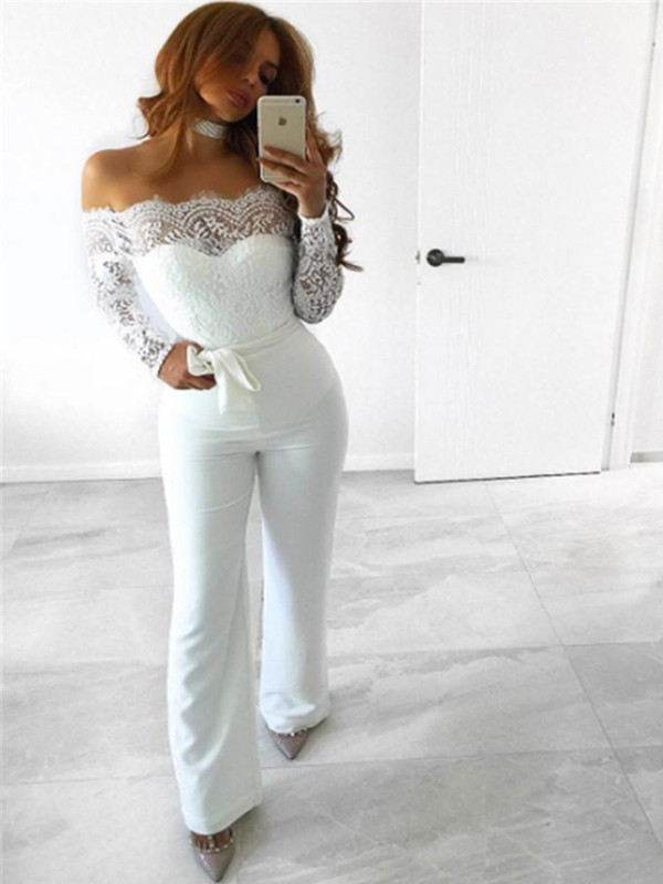507b13ae3bd White Patchwork Lace Sashes Backless Off Shoulder Outfit Wide Leg Long  Jumpsuit