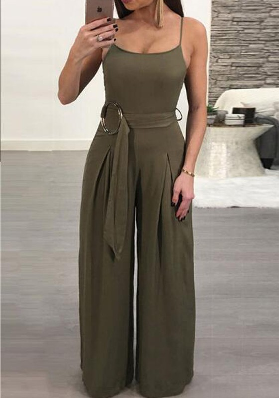 36cd48a8c7 Army Green Sashes Spaghetti Strap Backless One Piece Wide Leg Long Jumpsuit  - Jumpsuits - Bottoms