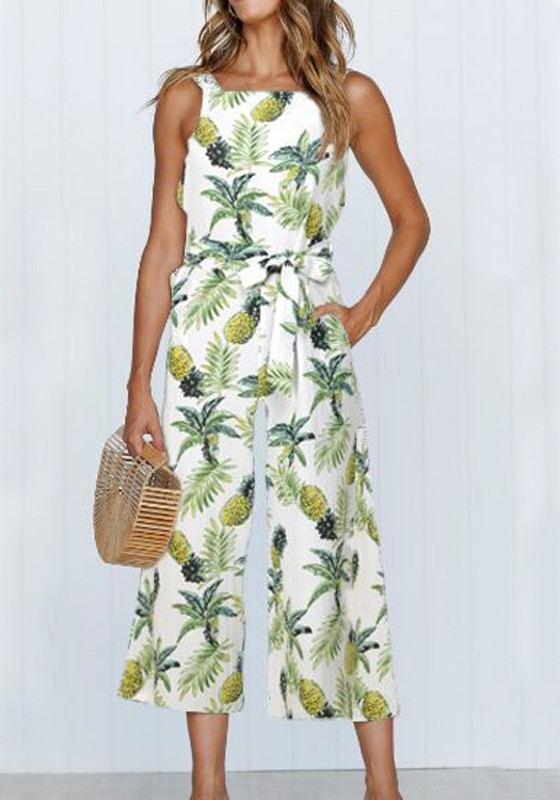 d4aa894560b White Pineapple Pattern Pockets Sashes One Piece Bohemian Wide Leg Seven's  Tropical Jumpsuit - Jumpsuits - Bottoms