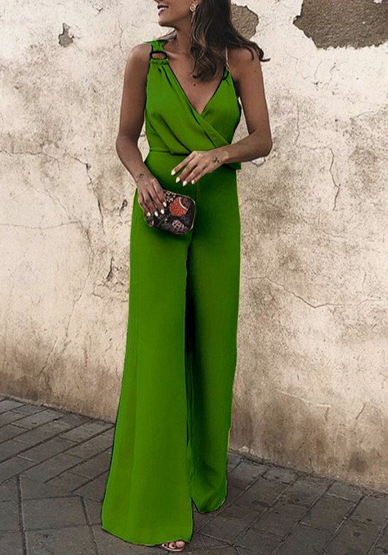 897cf3b387 Green Cross Ruched Asymmetric Shoulder V-neck High Waisted Elegant Wide Leg Long  Jumpsuit - Jumpsuits - Bottoms