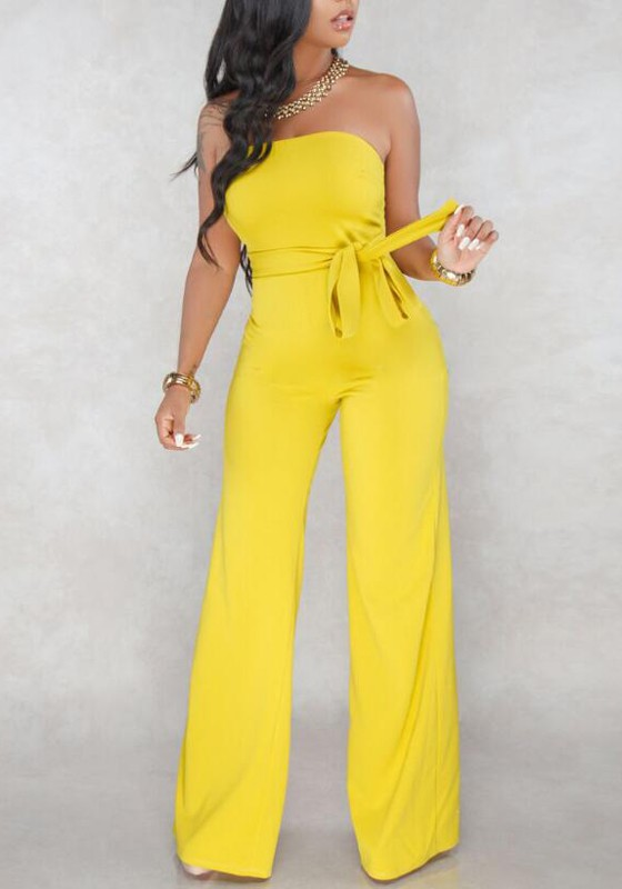 9b65c042b0d Yellow Bandeau Sashes Backless Off Shoulder High Waisted One Piece Wide Leg  Elegant Long Jumpsuit - Jumpsuits - Bottoms