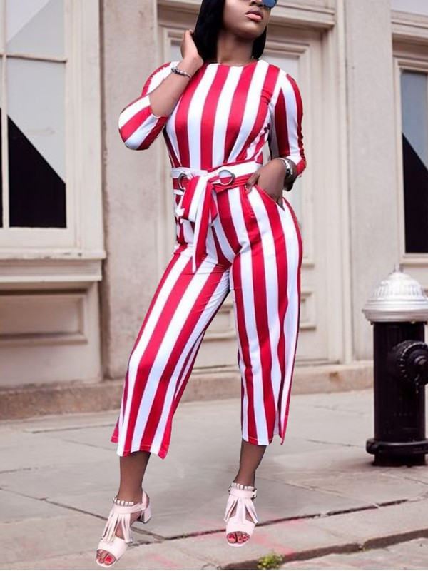 cf6caf366fe White-Red Striped Sashes Bowknot High Waisted Wide Leg Elegant Casual  Seven's Jumpsuit - Jumpsuits - Bottoms