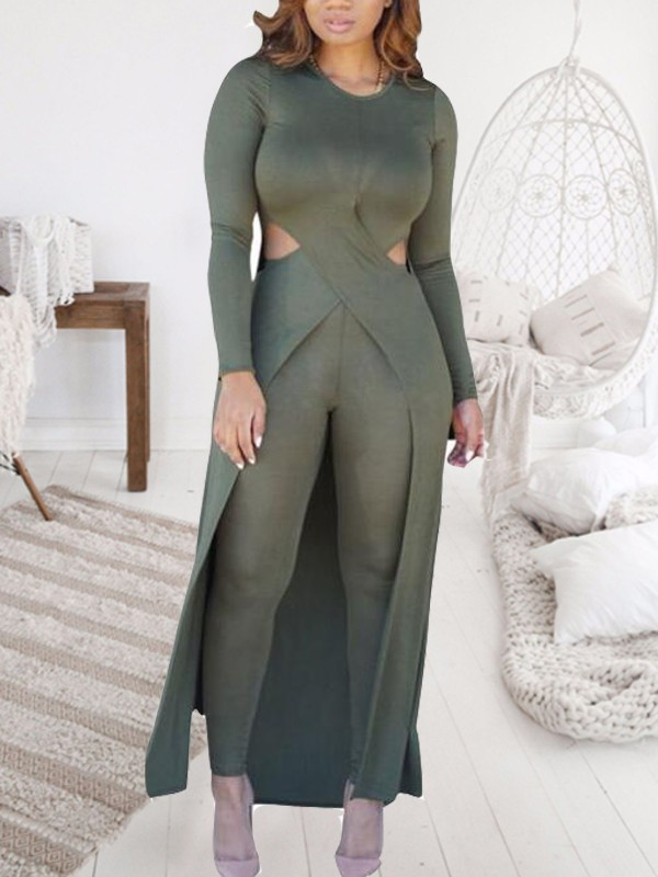 b7ed893b9e85 Army Green Cross Cut Out Side Slit Irregular High-low Tee Two Piece Long  Jumpsuit - Jumpsuits - Bottoms