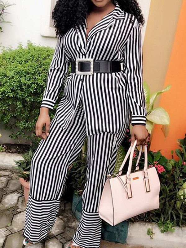 f2787853a8ad Black-White Striped Single Breasted Two Piece Long Sleeve Casual High  Waisted Wide Leg Palazzo Long Jumpsuit - Jumpsuits - Bottoms
