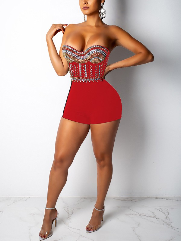 e7690250a44 Red Patchwork Rhinestone Off Shoulder Backless Bodycon Sparkly Glitter  Birthday Party Short Jumpsuit - Jumpsuits - Bottoms