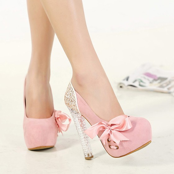 7a0ab1c7f03 Pink Round Toe Chunky Bow Sweet High-Heeled Shoes - Pumps Heels - Shoes