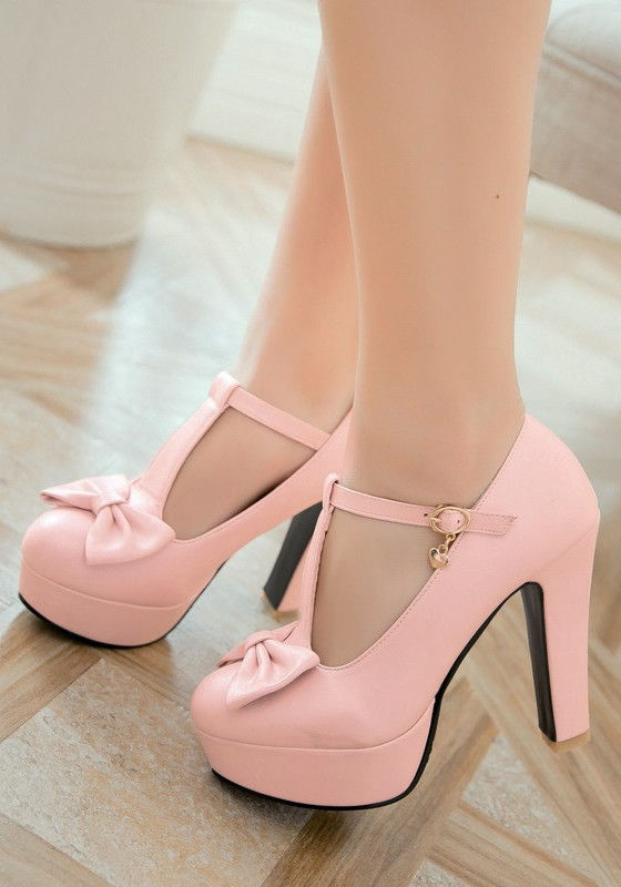 5c831bc9c39 Pink Round Toe Chunky Bow Sweet Buckle High-Heeled Shoes