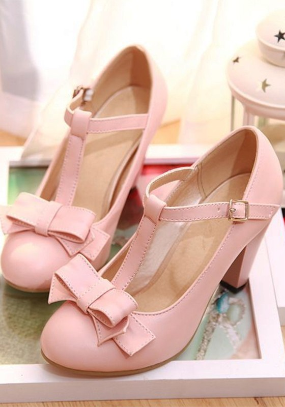 Sweet Round Toe High Pink Heeled Bow Shoes Chunky FcTKJl31