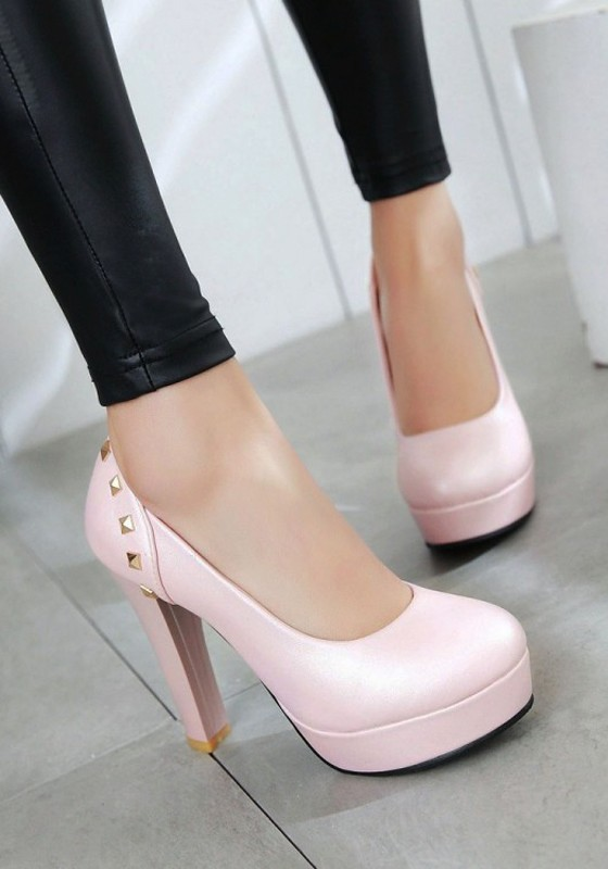 b5aac3843a36 Pink Round Toe Chunky Rivet Casual High-Heeled Shoes - Pumps Heels - Shoes