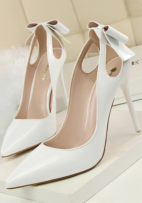 6a0040f9af9 White Point Toe Stiletto Cut Out Bow Fashion High-Heeled Shoes - Happy Hour