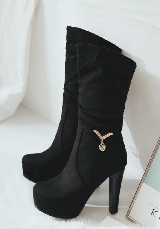 4b9bed3ee86 Black Round Toe Chunky Metal Decoration Casual Mid-Calf Boots - Happy Hour