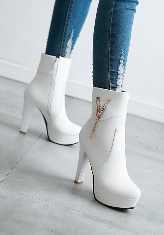 2d8b1c2a646 White Round Toe Chunky Metal Decoration Casual Boots - Happy Hour