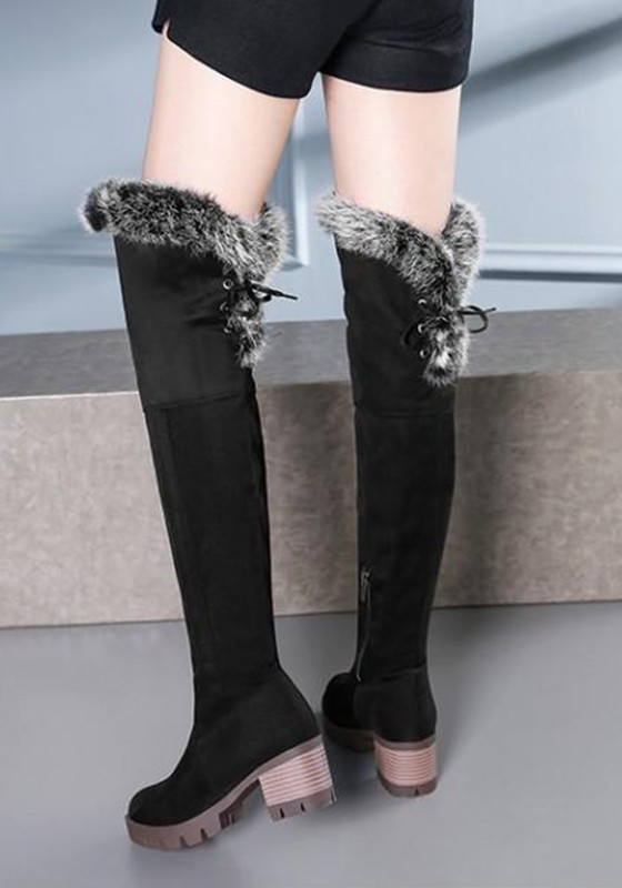 85700e513dd Black Round Toe Chunky Faux Fur Fashion Over-The-Knee Boots - Boots - Shoes