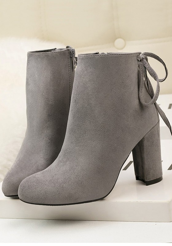 b381a5ed527 Grey Round Toe Chunky Zipper Casual Ankle Boots