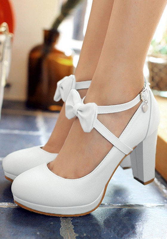 00d8bfc5936 White Round Toe Bow Chunky Sweet High-Heeled Shoes - Happy Hour