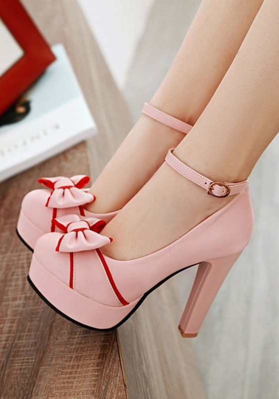 73a65f76f77 Pink Round Toe Chunky Bow Sweet High-Heeled Shoes