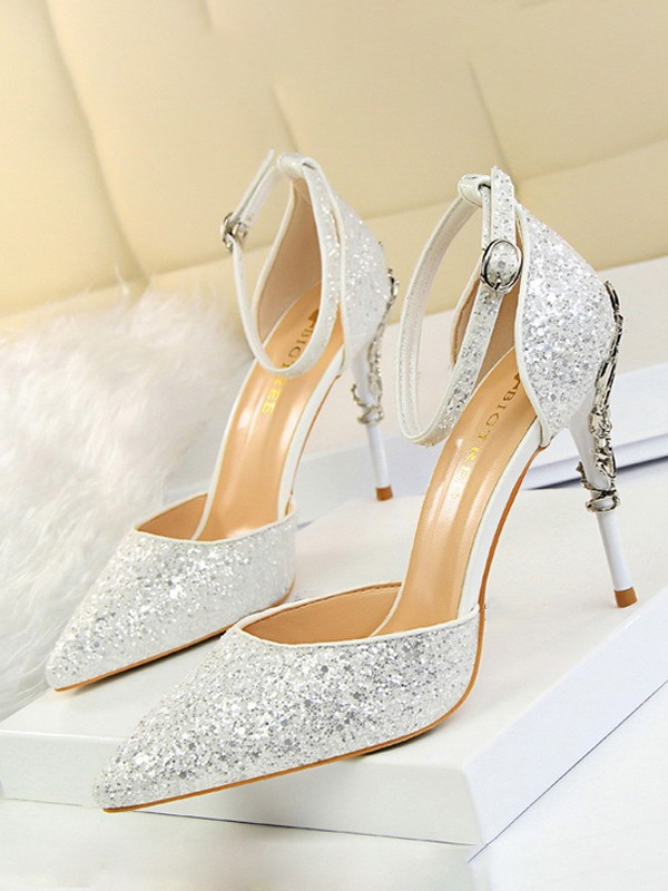 d190cc79288 White Point Toe Stiletto Sequin Buckle Fashion High-Heeled Sandals