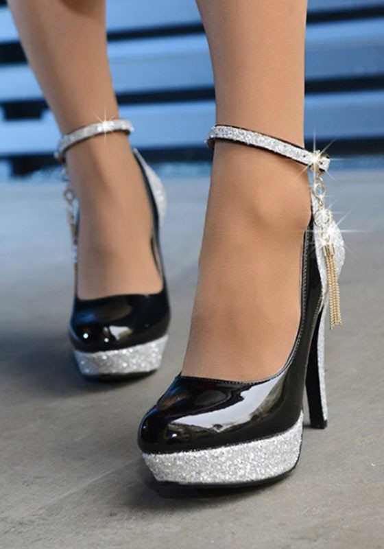f5839d7e043 Black Round Toe Stiletto Sequin Buckle Fashion High-Heeled Shoes - Happy  Hour