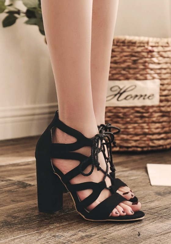 6caa88e7c20 Black Round Toe Chunky Cut Out Cross Strap Fashion High-Heeled Sandals -  Happy Hour