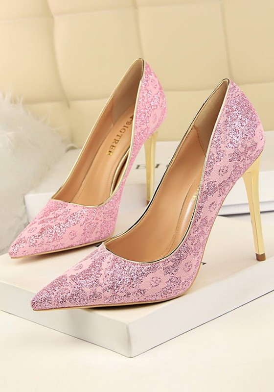 05193070b91 Pink Point Toe Stiletto Lace Sequin Fashion High-Heeled Court Shoes - Pumps  Heels - Shoes
