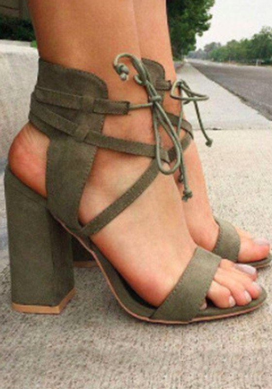 Sandals Toe Lace Round Green Up Fashion Heeled Army High Chunky rBCxedo