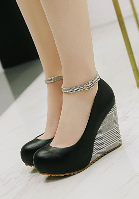 bac1bd632935 Black Round Toe Wedges Buckle Patchwork Fashion High-Heeled Shoes - Wedges  - Shoes