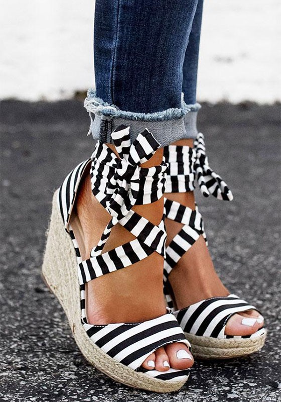 Black And White Round Toe Lace Up Wedges Fashion High