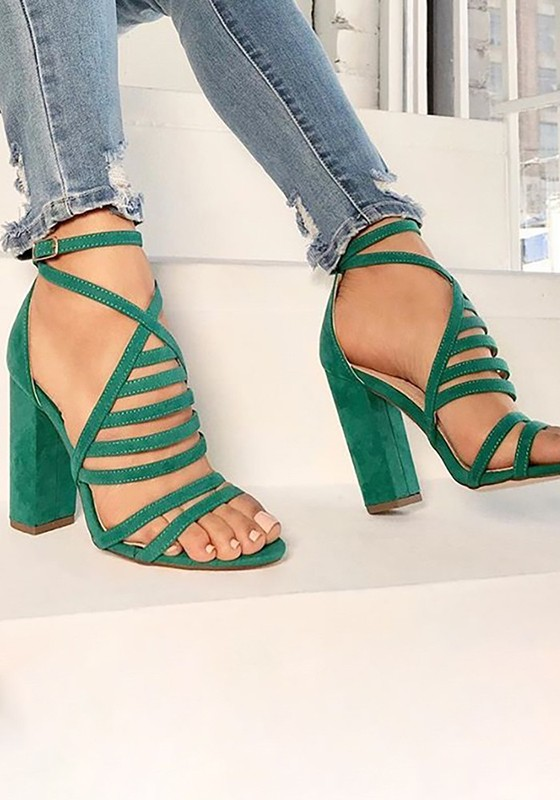 9412d3d5230 Green Round Toe Chunky Cross Strap Buckle Fashion High-Heeled Sandals -  Sandals - Shoes