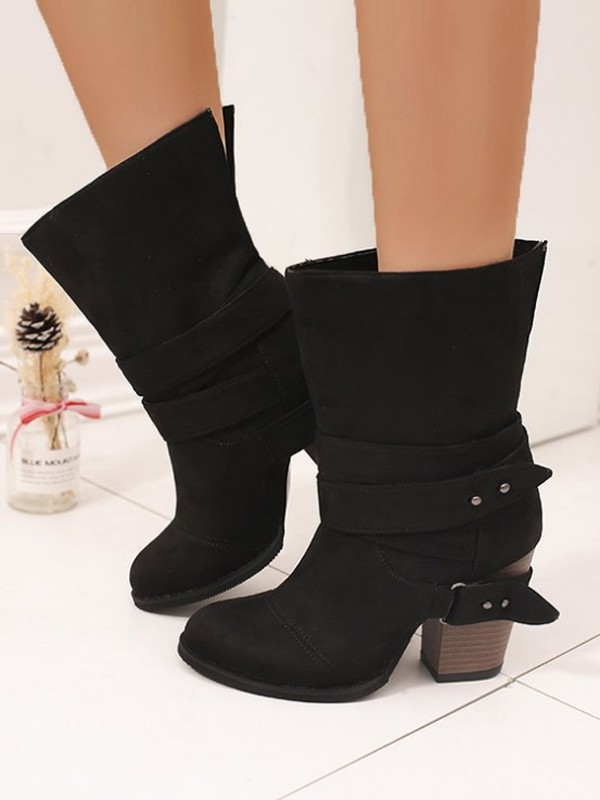 af9a1d90ce2 Black Round Toe Belt Buckle Chunky Fashion Boots - Happy Hour