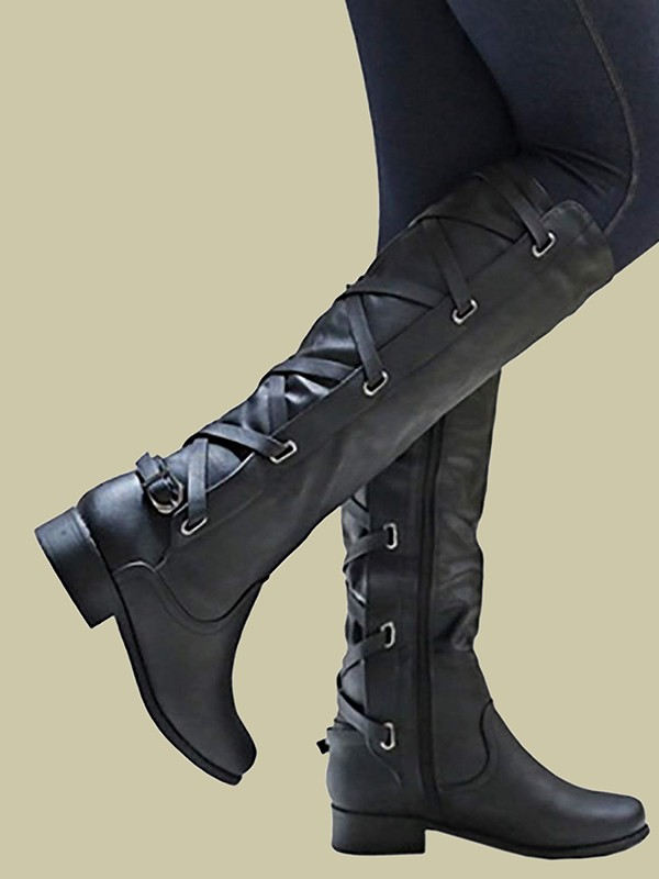 58dcad36630 Black Round Toe Chunky Cross Strap Fashion Knee-High Boots - Boots - Shoes