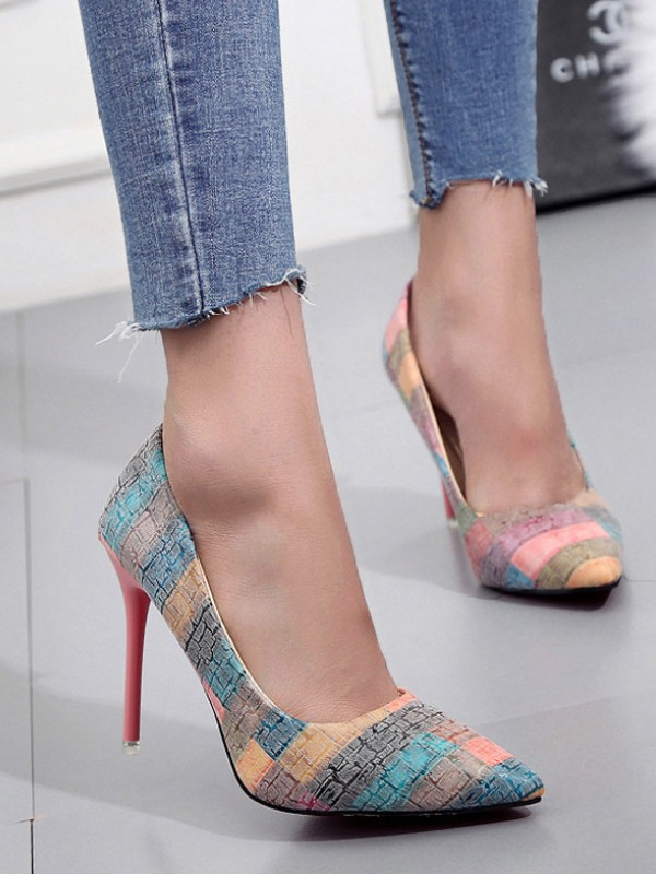 50% off outlet store sale uk Multicolor Point Toe Print Fashion High-Heeled Shoes
