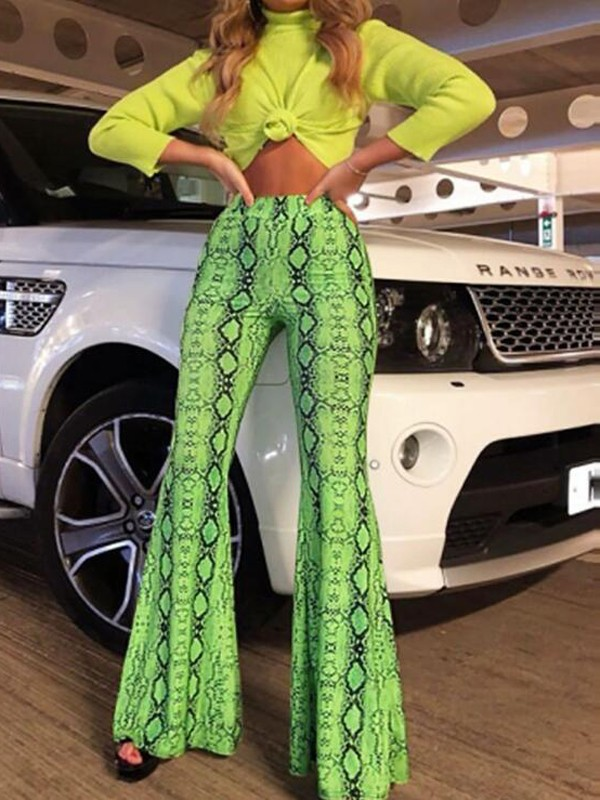 d3a0dfe67c6c8 Neon Green Snake Skin Print High Waisted Flare Bell Bottom Vintage Long  Pants