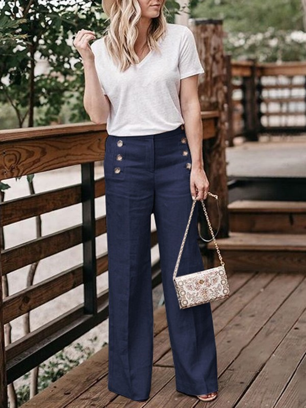 Navy Blue Buttons Pockets Fashion Long Wide Leg Pants