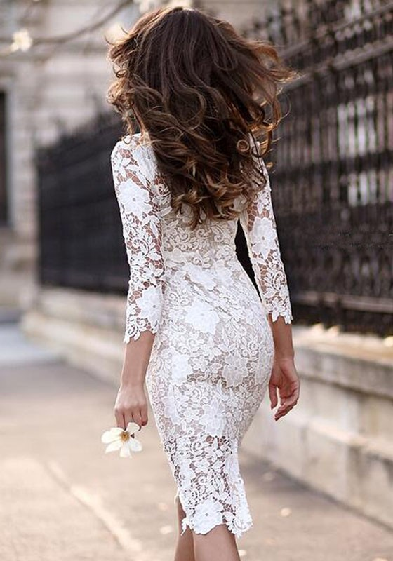 a7571cb6dce White Plain Lace Hollow-out Irregular 3/4 Sleeve See-through Bodycon  Elegant Party Midi Dress