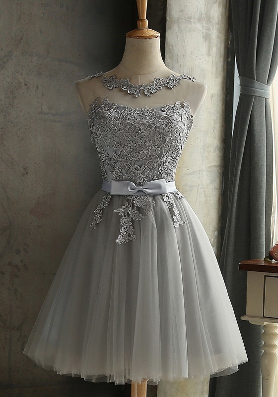 Grey Lace Bow Grenadine Lace Up Bridesmaid Elegant Tutu