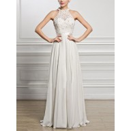 6f453c61f7d White Patchwork Lace Pleated Halter Neck Backless Elegant Bridesmaid Party  Maxi Dress